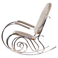 Maison Jansen Chrome Rocking Chair with New Velour Fabric, 1970s