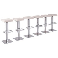 Maison Jansen Chromed Steel Adjustable Bar Stools with White Velvet Seating