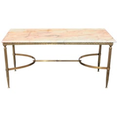 Maison Jansen Coffee or Cocktail Table Bronze Rectangular with Beige Onyx Top