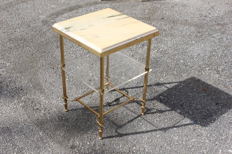 Art Deco Maison Jansen Coffee or Side Table Bronze with Onyx Top and Lucite Shelves For Sale