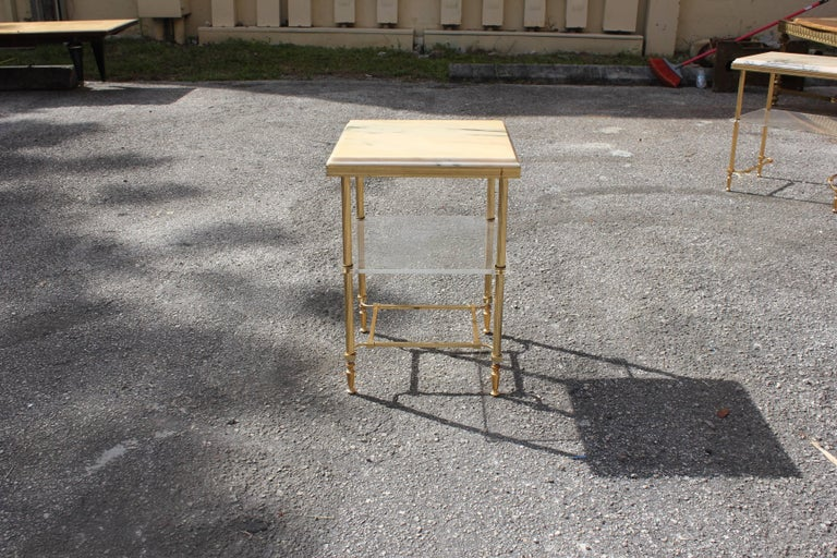 French Maison Jansen Coffee or Side Table Bronze with Onyx Top and Lucite Shelves For Sale