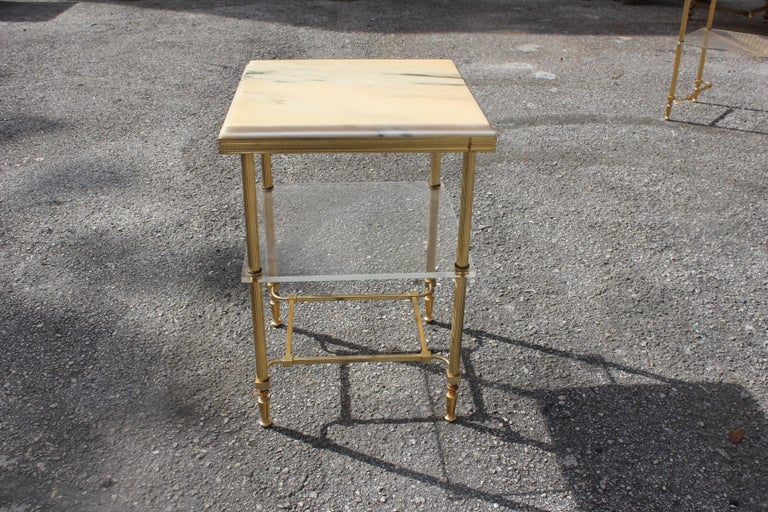 Mid-20th Century Maison Jansen Coffee or Side Table Bronze with Onyx Top and Lucite Shelves For Sale