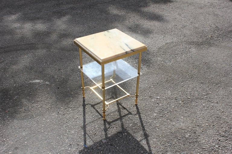 Brass Maison Jansen Coffee or Side Table Bronze with Onyx Top and Lucite Shelves For Sale