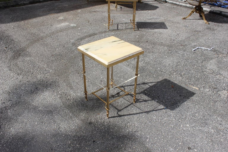 Maison Jansen Coffee or Side Table Bronze with Onyx Top and Lucite Shelves For Sale 1
