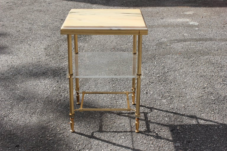 Maison Jansen Coffee or Side Table Bronze with Onyx Top and Lucite Shelves For Sale 2