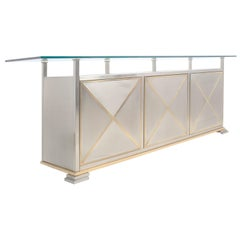 Maison Jansen Credenza with Clear Glass Top
