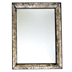 Maison Jansen Curved Panel Smoked Veined Wall Mirror