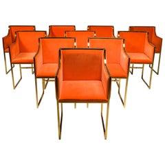 Maison Jansen Dining Armchairs in Brass and Orange Velvet