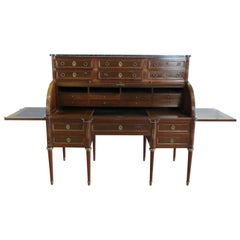 Large Maison Jansen Directoire Mahogany and Bronze Ormolu Cylinder Desk