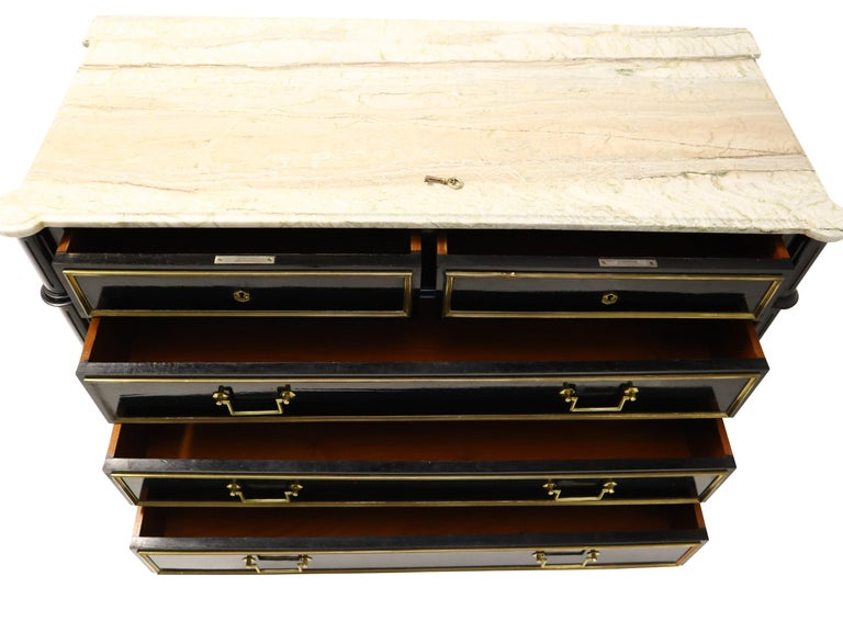 Maison Jansen Attributed Ebonized Louis XVI Commodes In Good Condition In Chicago, IL