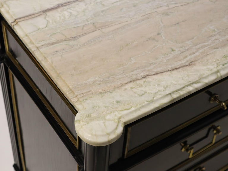 Marble Maison Jansen Attributed Ebonized Louis XVI Commodes