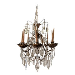 Maison Jansen Eight-Light Crystal and Gilded Bronze Chandelier, French