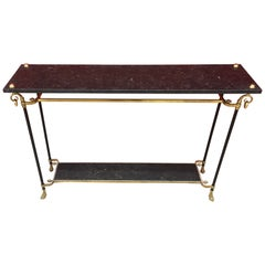Maison Jansen, Elegant Console Table in Bronze, Brass and Marble, circa 1950