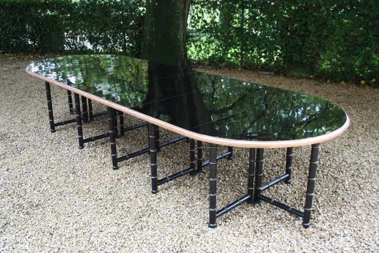 Extra Large Six Shelves Faux Bamboo Dining Table For Sale 4