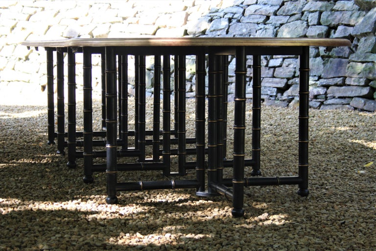 French Extra Large Six Shelves Faux Bamboo Dining Table For Sale