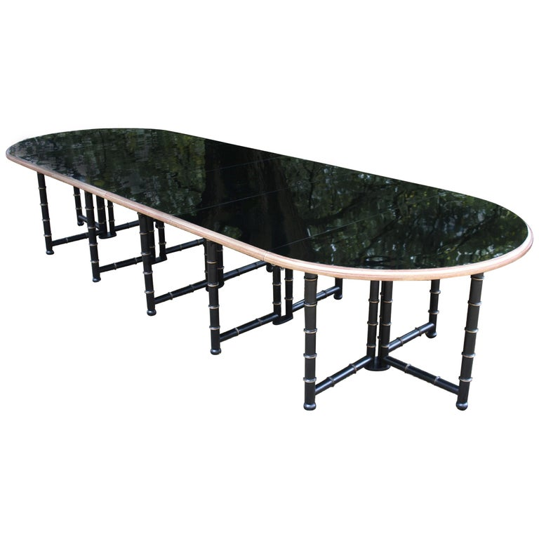 Extra Large Six Shelves Faux Bamboo Dining Table For Sale