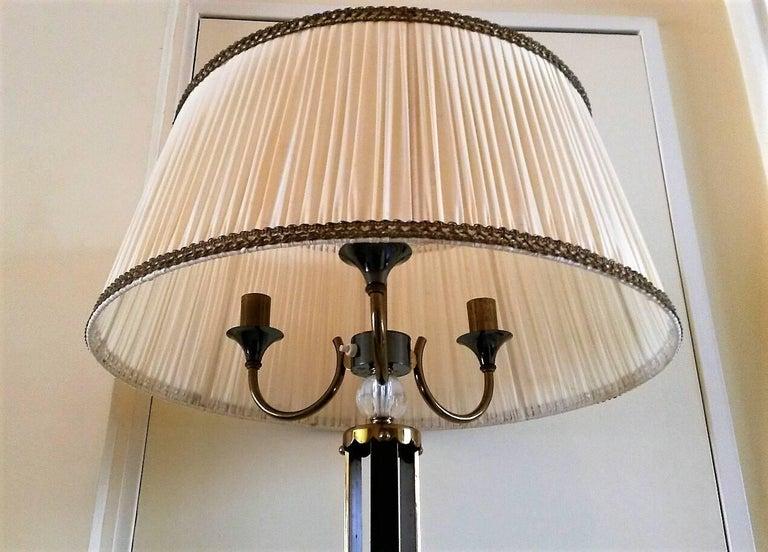 Maison Jansen Floor Lamp in Bronze and Cristal de Sèvres, France, 1950 For Sale 1
