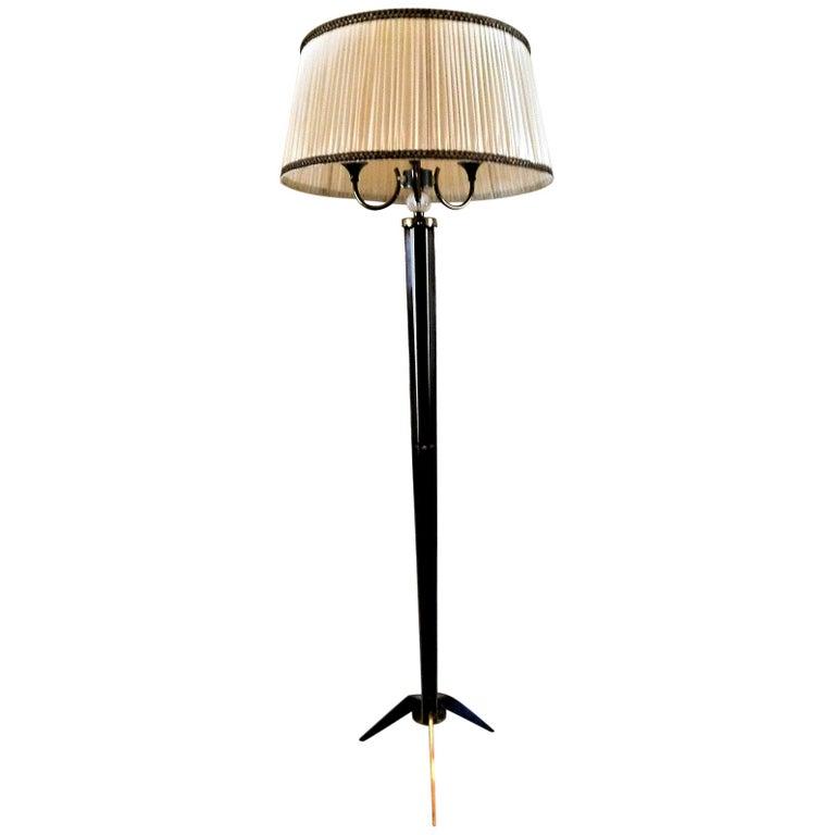 Maison Jansen Floor Lamp in Bronze and Cristal de Sèvres, France, 1950 For Sale
