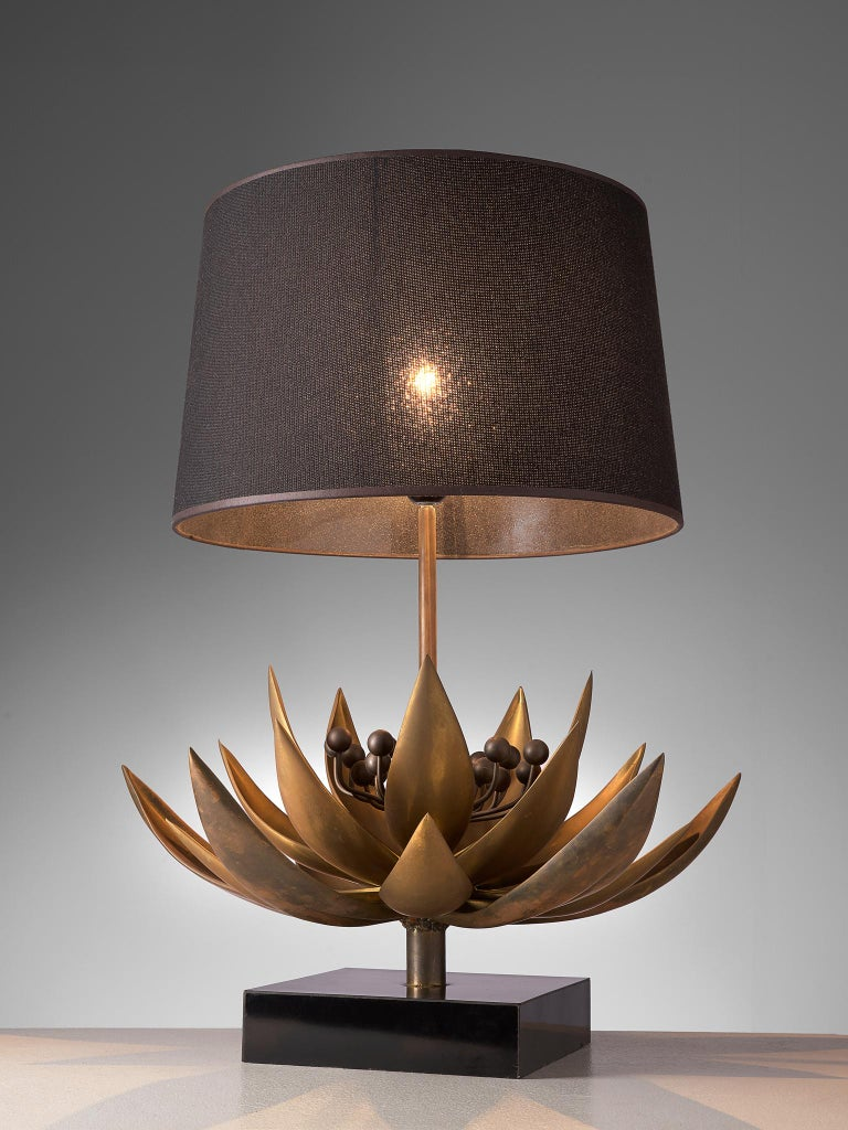 French Maison Jansen Floral Table Lamp in Patinated Brass For Sale