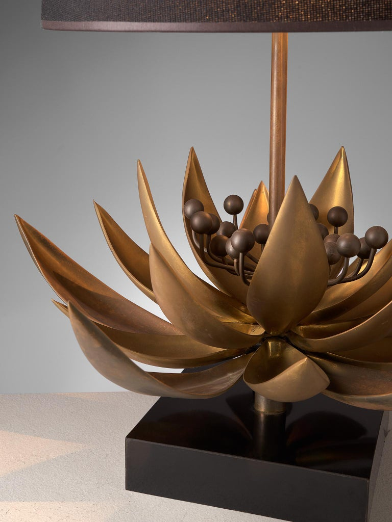 Late 20th Century Maison Jansen Floral Table Lamp in Patinated Brass For Sale
