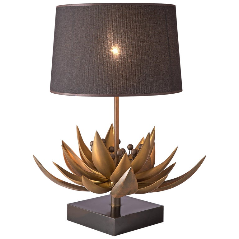 Maison Jansen Floral Table Lamp in Patinated Brass For Sale
