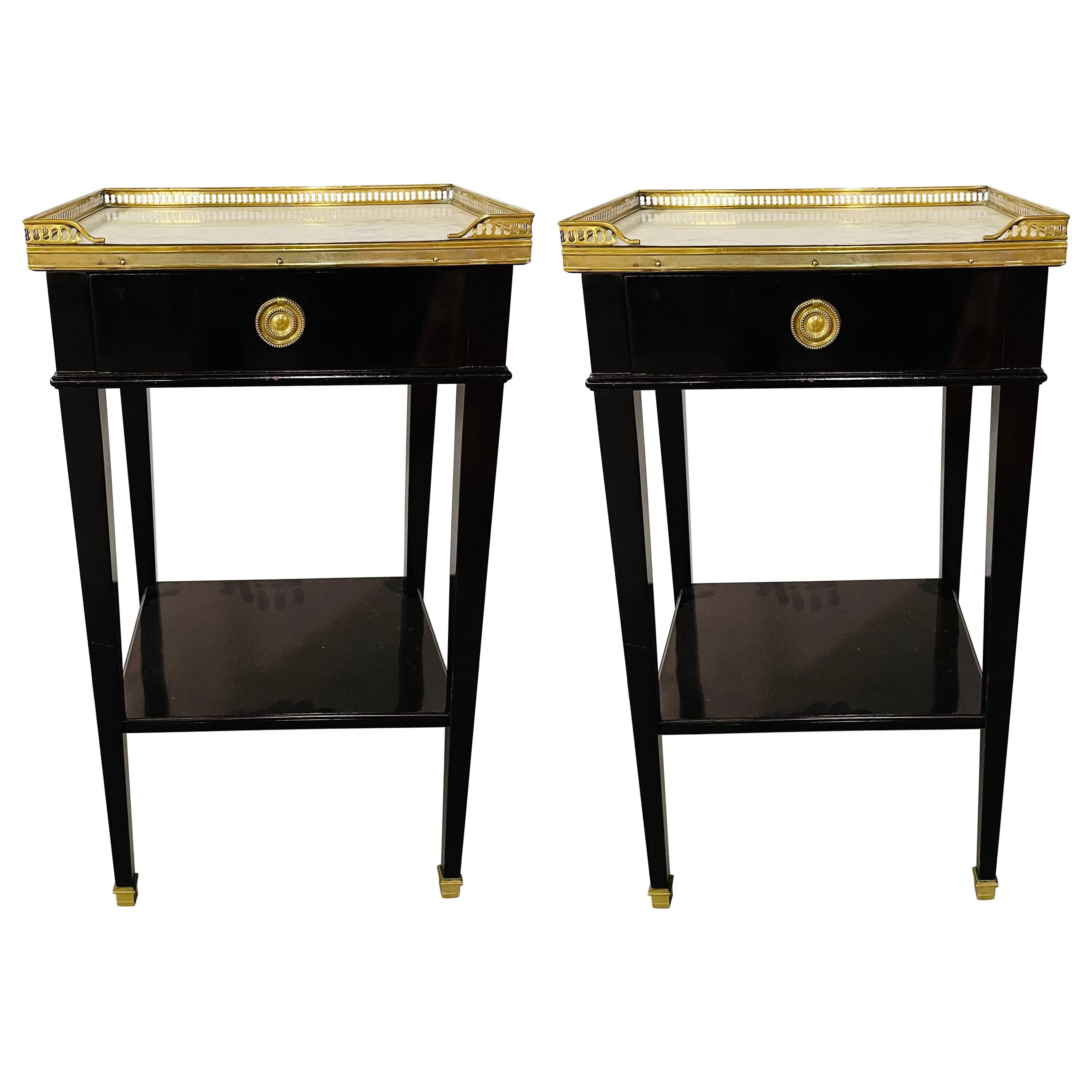 Maison Jansen French Modern Neoclassical Side Table or Nightstand, a Pair