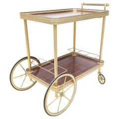 Maison Jansen French Neoclassical Brass Bar cart