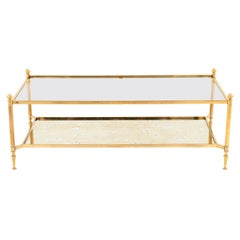 Maison Jansen, Gilt Brass Coffee Table, Glass and Oxidized Mirror, 1970s