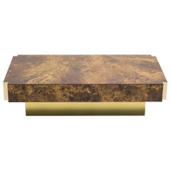 Maison Jansen Golden Lacquer and Brass Coffee Table, 1970s