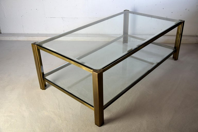 Maison Jansen Hollywood Regency Brass Coffee Table For Sale 3