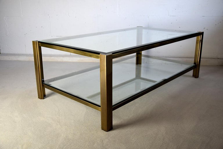 Maison Jansen Hollywood Regency Brass Coffee Table For Sale 5