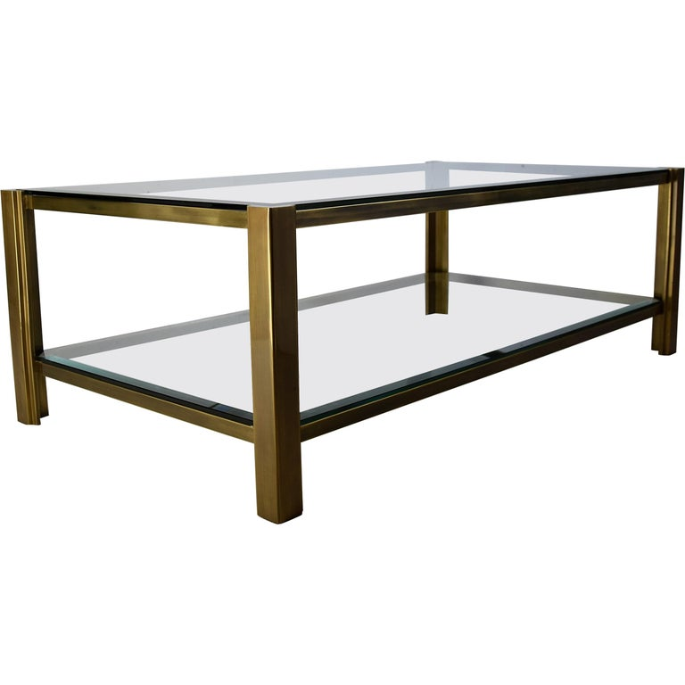 Maison Jansen Hollywood Regency Brass Coffee Table For Sale