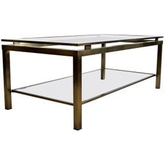 Hollywood Regency Brass Two-Tier Coffee Table
