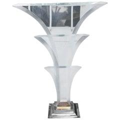 Maison Jansen Hollywood Regency Monumental Lucite Fontaine Table Lamp
