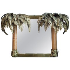 Maison Jansen Illuminated Palm Mirror, France, 1960s