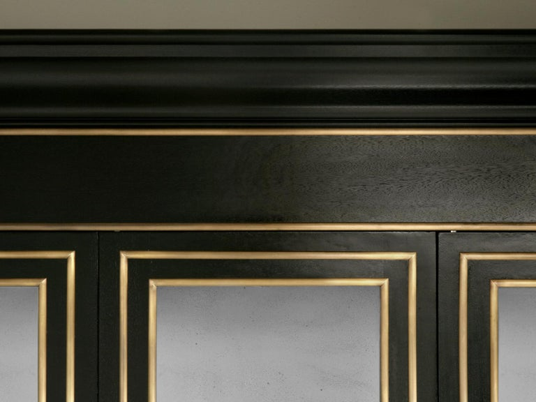 Maison Jansen Inspired Ebonized Louis XVI Style Bookcase Solid Bronze Trim In New Condition For Sale In Chicago, IL