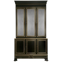 Maison Jansen Inspired Ebonized Louis XVI Style Bookcase Solid Bronze Trim