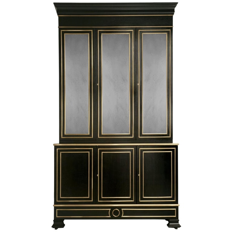 Maison Jansen Inspired Ebonized Louis XVI Style Bookcase Solid Bronze Trim For Sale