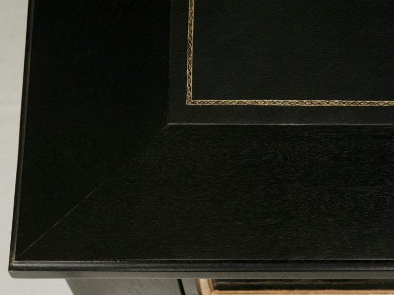 American Maison Jansen Inspired French Louis XVI Ebonized Desk Available in Any Dimension For Sale