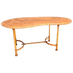 Hollywood Regency Maison Jansen Kidney Shaped Brass & Italian Marble Sofa Table