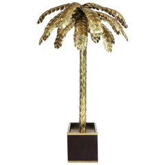 Maison Jansen Large Brass Palm Tree Floor Lamp, 1970s