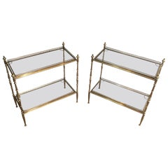 Maison Jansen, Large Pair of Neoclassical Style Brass Side Tables with Removable