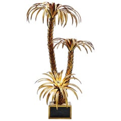 Maison Jansen Large Palm Tree Floor Lamp, France, 1970