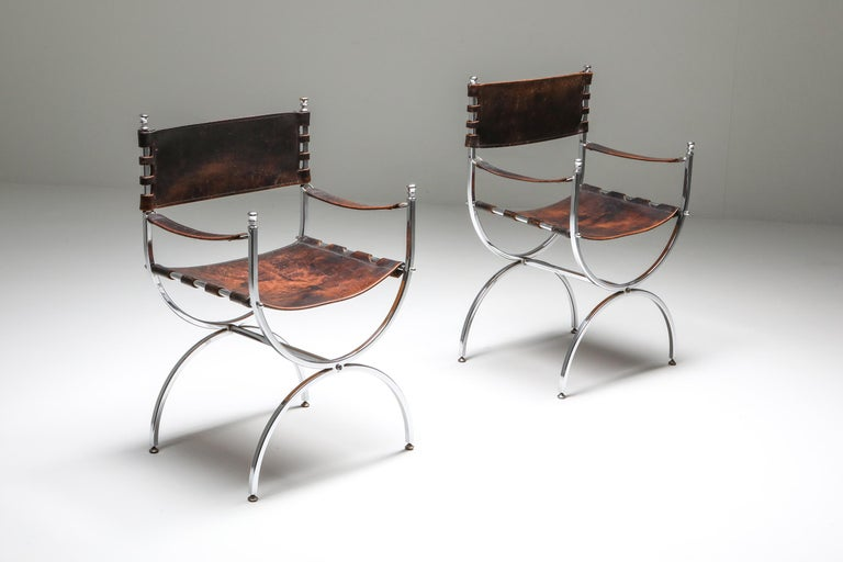 French Maison Jansen Leather and Chrome