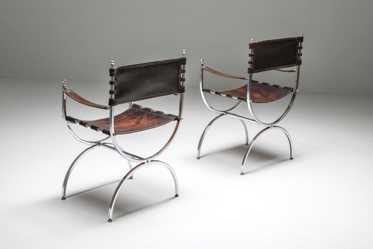 Late 20th Century Maison Jansen Leather and Chrome