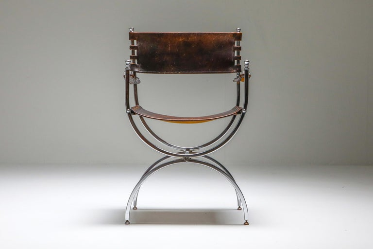 Maison Jansen Leather and Chrome