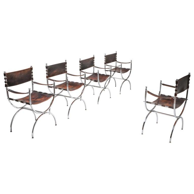 "Maison Jansen Leather and Chrome ""Savonarola"" Emperor Chairs For Sale"