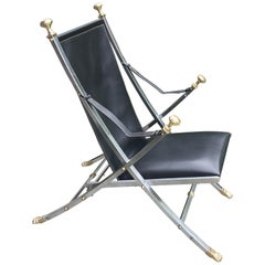 Maison Jansen Leather, Brushed Steel and Brass Folding Campaign Side Chair 1960s