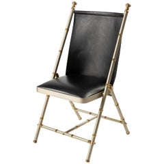 Maison Jansen Leather Steel And Bronze Campaign Desk Side Chair