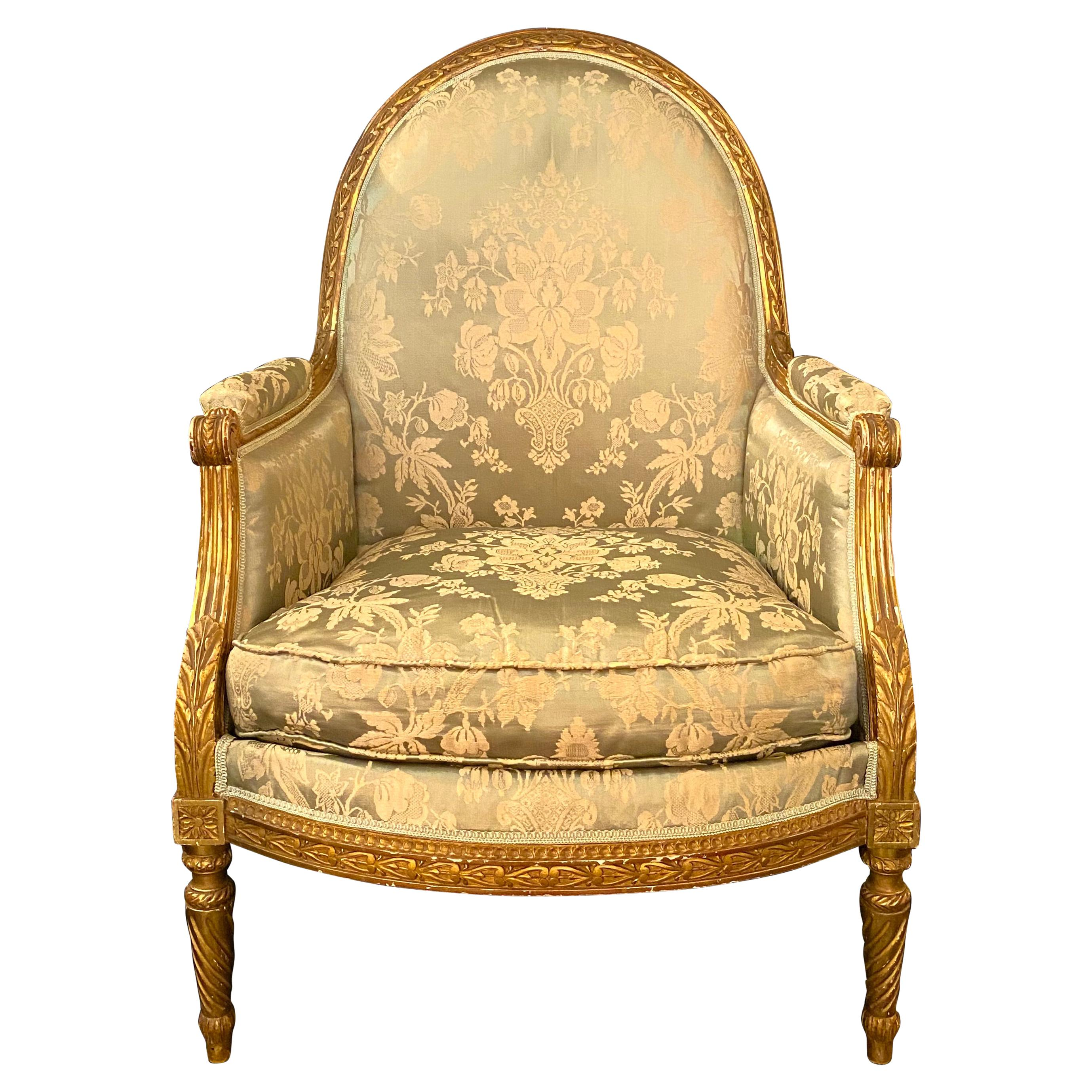 Maison Jansen Louis XVI Style Giltwood Bergère Armchair
